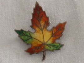 Vintage Sterling Silver and Enamel Leaf Brooch -Canada Souvenir (SOLD)